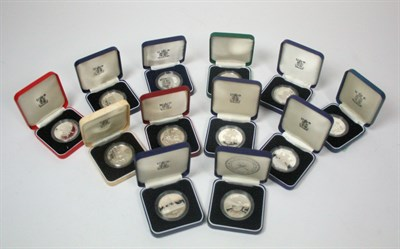 Lot 647 - A collection of silver proof crown sized coins