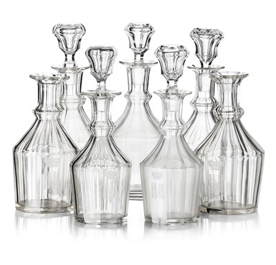 285 - SEVEN RUSSIAN IMPERIAL GLASS WORKS DECANTERS FROM A GRAND DUKE MICHAEL NIKOLAEVICH BANQUET SERVICE