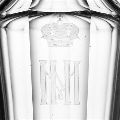 Lot 285 - SEVEN RUSSIAN IMPERIAL GLASS WORKS DECANTERS FROM A GRAND DUKE MICHAEL NIKOLAEVICH BANQUET SERVICE