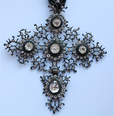 Lot 78 - A Spanish style 19th century  silver and paste set cross