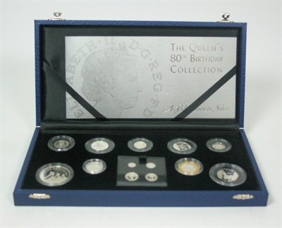 Lot 630 - A thirteen coin silver 'Queens 80th Birthday' proof set
