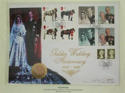 Lot 592 - A Queen Elizabeth II Golden Wedding gold coin cover
