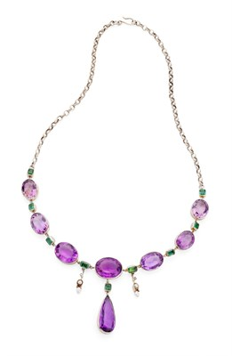 Lot 80 - An early 20th century multi-gem necklace