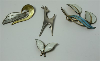 Lot 64 - A collection of Scandinavian silver and enamelled jewellery