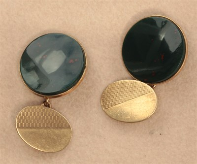Lot 113 - A pair of 9ct gold mounted bloodstone set cufflinks