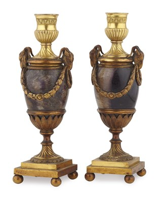 287 - PAIR OF GEORGE III ORMOLU MOUNTED BLUE JOHN CASSOLETTES, ATTRIBUTED TO MATTHEW BOULTON