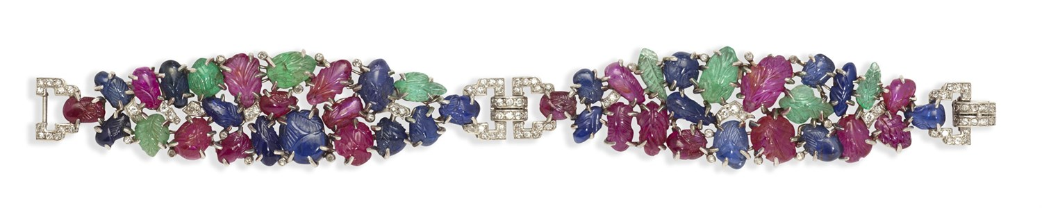 148 - An early 20th century 'Tutti-Frutti' bracelet