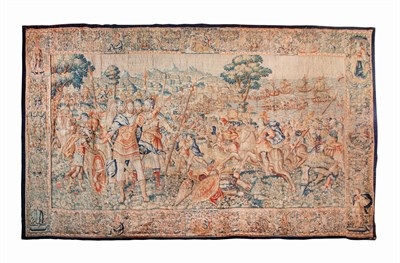 89 - FLEMISH HISTORICAL TAPESTRY OF ALEXANDER THE GREAT AND THE CAPTURE OF TYRE