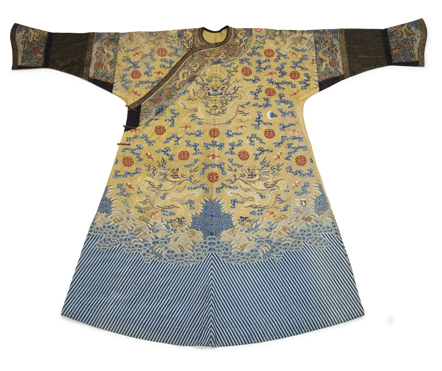 446 - RARE DOWAGER EMPRESS CIXI IMPERIAL TWELVE-SYMBOL FESTIVE SUMMER 'DRAGON' ROBE (LONG PAO)