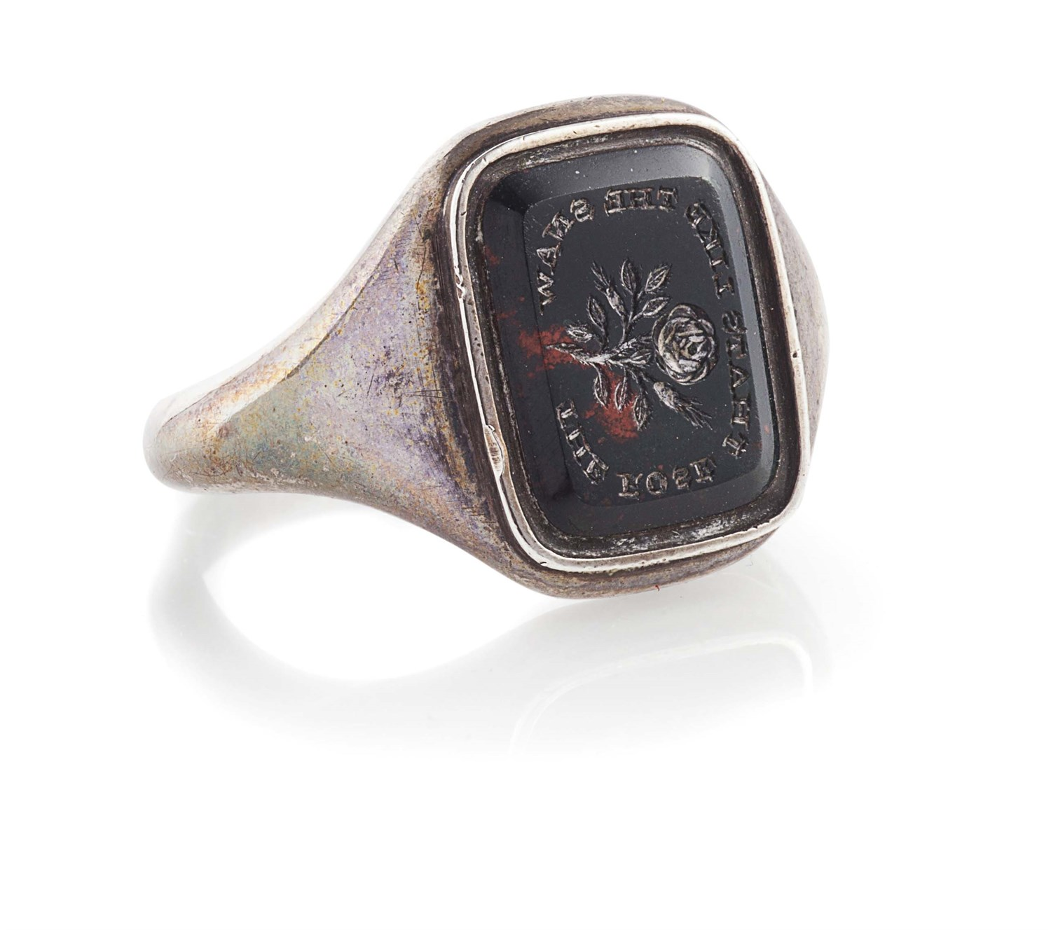 Lot 1-A late 18th century gentleman's Jacobite silver and bloodstone supporter's ring