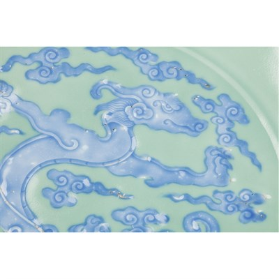 Lot 304-EXCEPTIONALLY RARE CELADON AND BLUE GLAZED DRAGON CHARGER