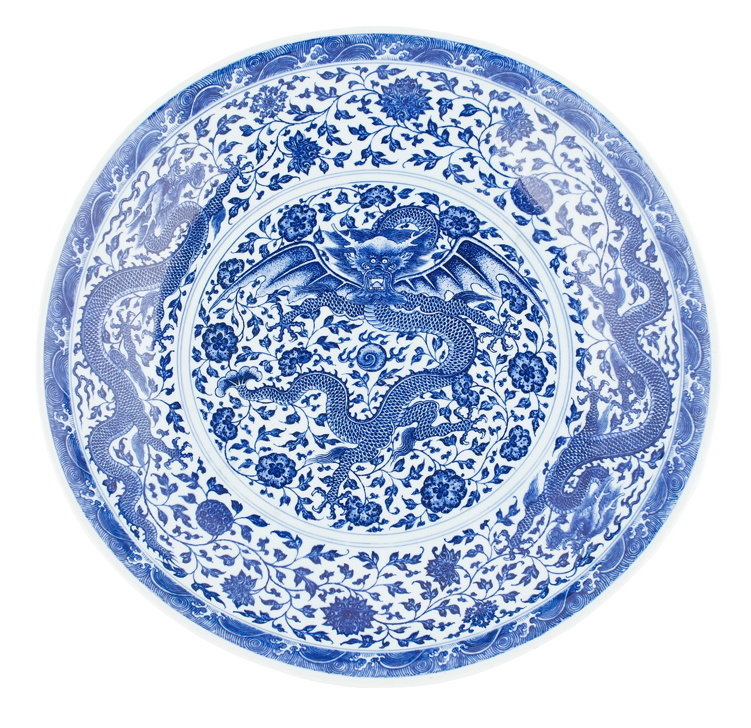 368 - LARGE BLUE AND WHITE MING STYLE 'DRAGON' CHARGER