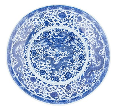 Lot 368 - LARGE BLUE AND WHITE MING STYLE 'DRAGON' CHARGER
