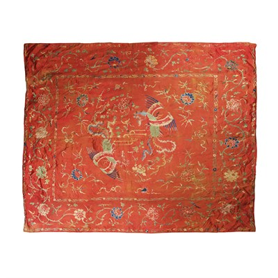 Lot 70 - SILK EMBROIDERED BED COVER