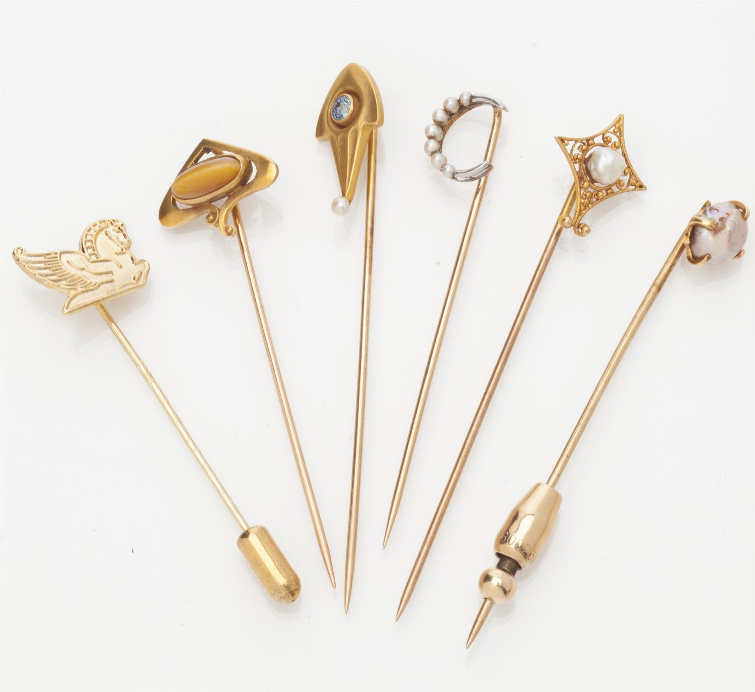 Lot 49-A collection of gem set tie pins