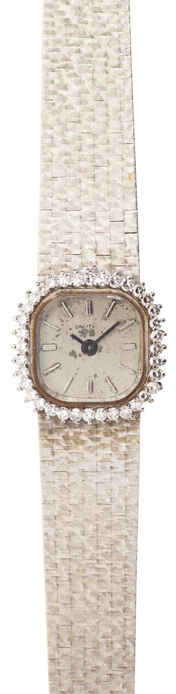 Lot 78-A diamond set 18ct white gold cocktail wrist watch