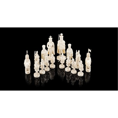 Lot 176 - CARVED IVORY EXPORT CHESS SET
