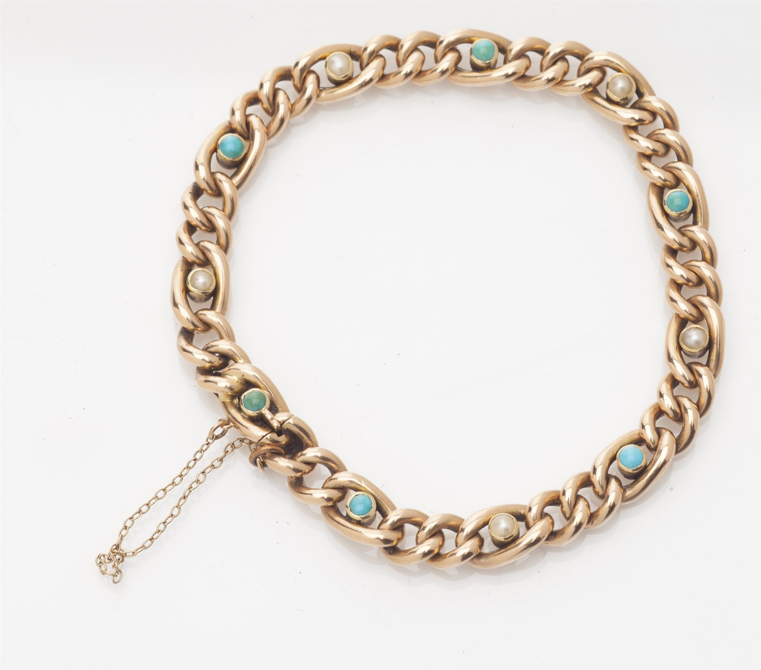 Lot 4-A pearl and turquoise set bracelet