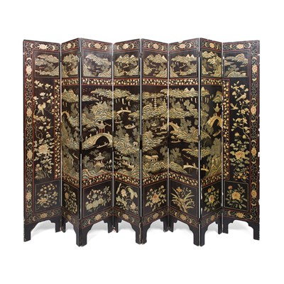Lot 50 - EIGHT FOLD LACQUER SCREEN