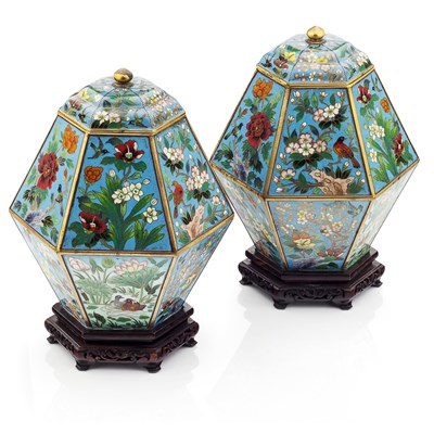 Lot 111 - PAIR OF CLOISONNE VASES AND COVERS