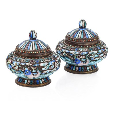 Lot 112 - PAIR OF TIBETAN-STYLE ENAMELLED METAL VASES AND COVERS