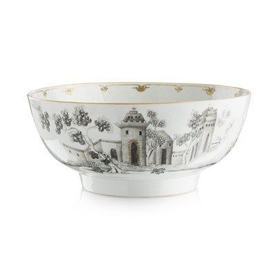 Lot 7 - EXPORT GRISAILLE PUNCH BOWL OF JESUIT SUBJECT