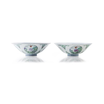 Lot 419 - PAIR OF DOUCAI 'BUTTERFLIES AND FLOWERS' MEDALLION BOWLS