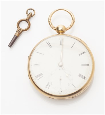 Lot 79-A George III 18ct gold cased open faced pocket watch