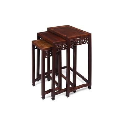 Lot 47 - NEST OF THREE HONGMU TABLES