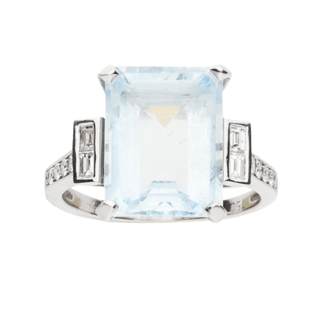 Lot 188-An 18ct gold mounted aquamarine and diamond set ring
