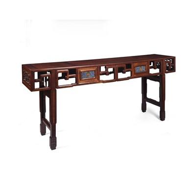 Lot 51 - FINE HUANGHUALI, HONGMU & BURRWOOD ALTAR TABLE