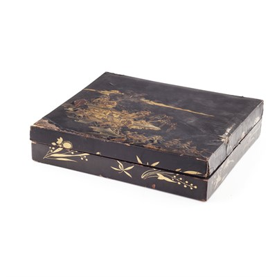 Lot 102 - RECTANGULAR LACQUER BOX AND COVER