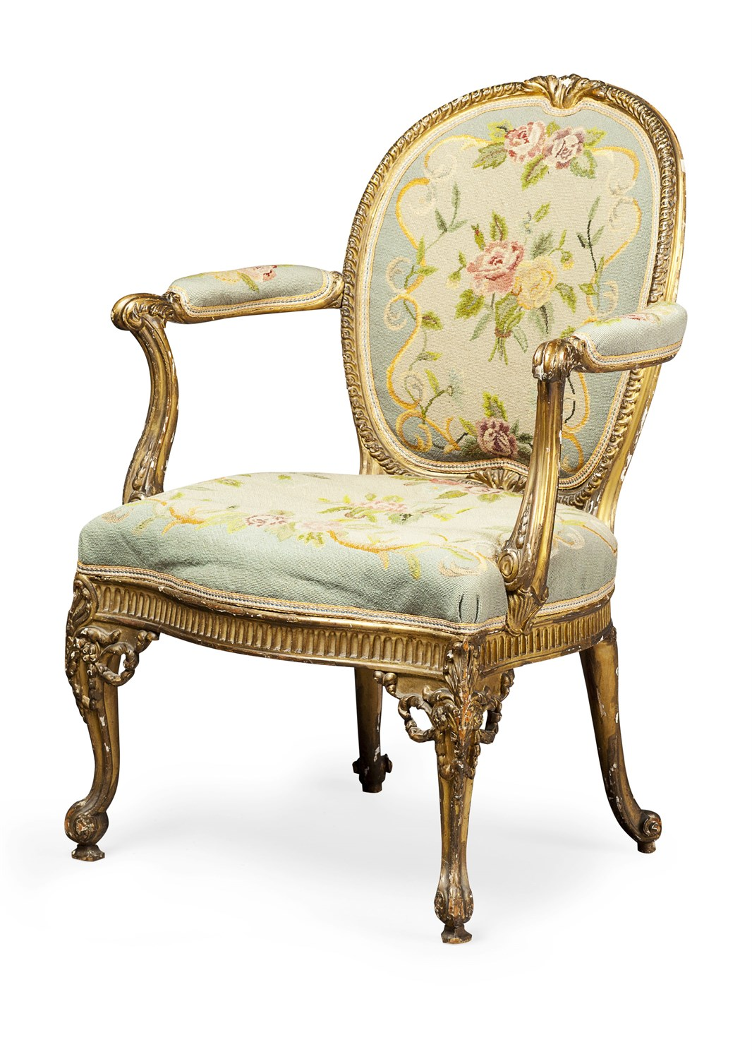 3 - GOOD GEORGE III GILTWOOD OPEN ARMCHAIR IN THE MANNER OF THOMAS CHIPPENDALE