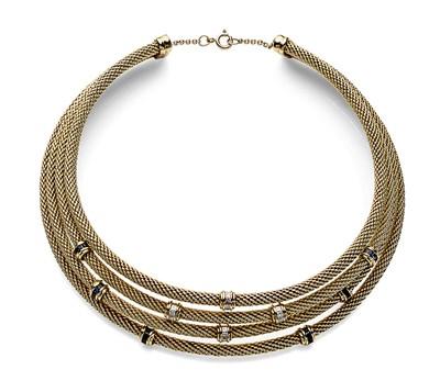Lot 86 - DAVID YURMAN - An 18ct gold diamond and sapphire set collar from the Starlight Range