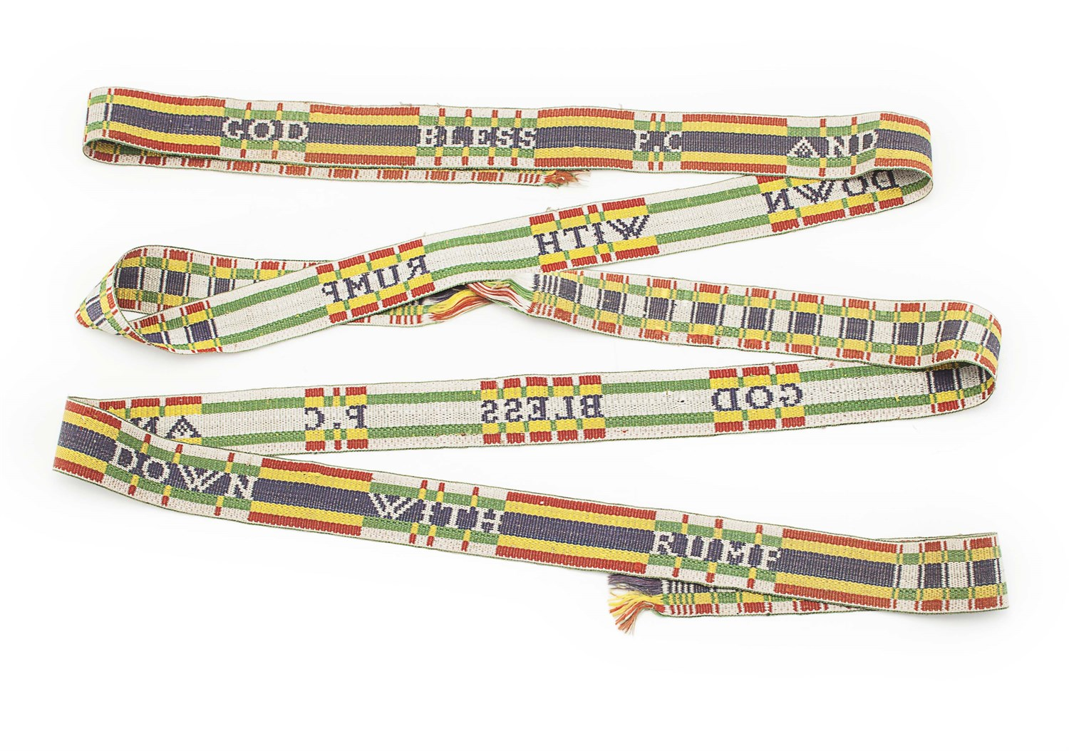 Lot 112-A pair of Jacobite silk garters