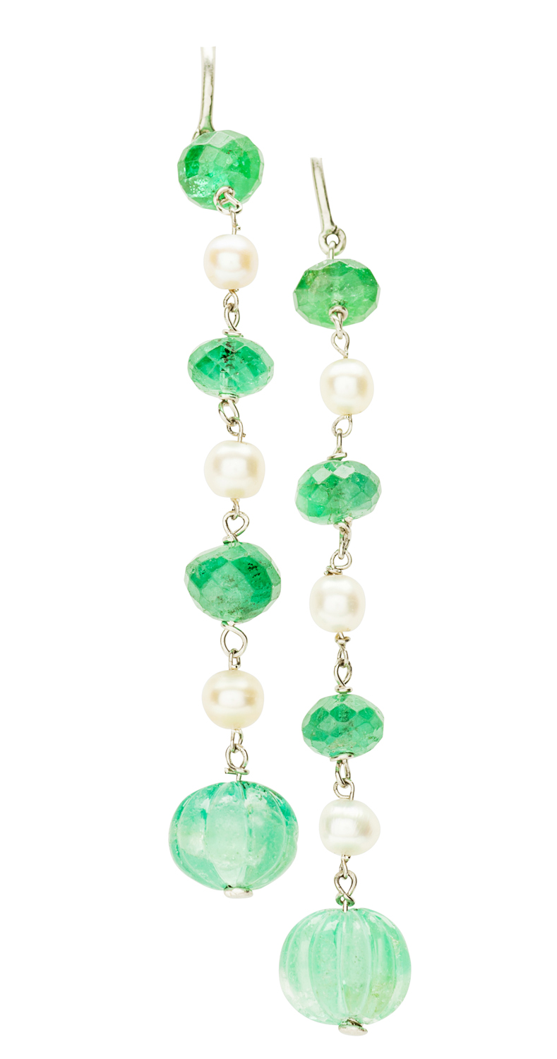 Lot 135-A pair of emerald and pearl set pendant earrings