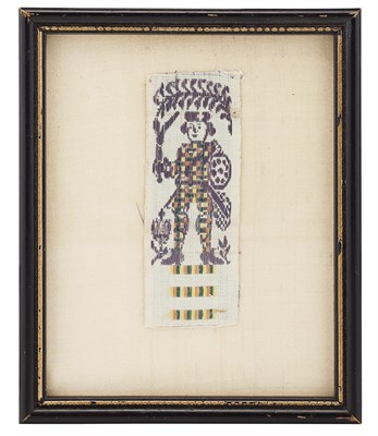Lot 7-A framed section of Jacobite ribbon