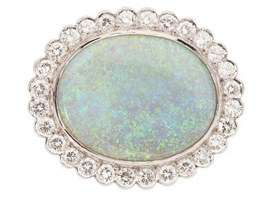 Lot 114 - A opal and diamond set brooch