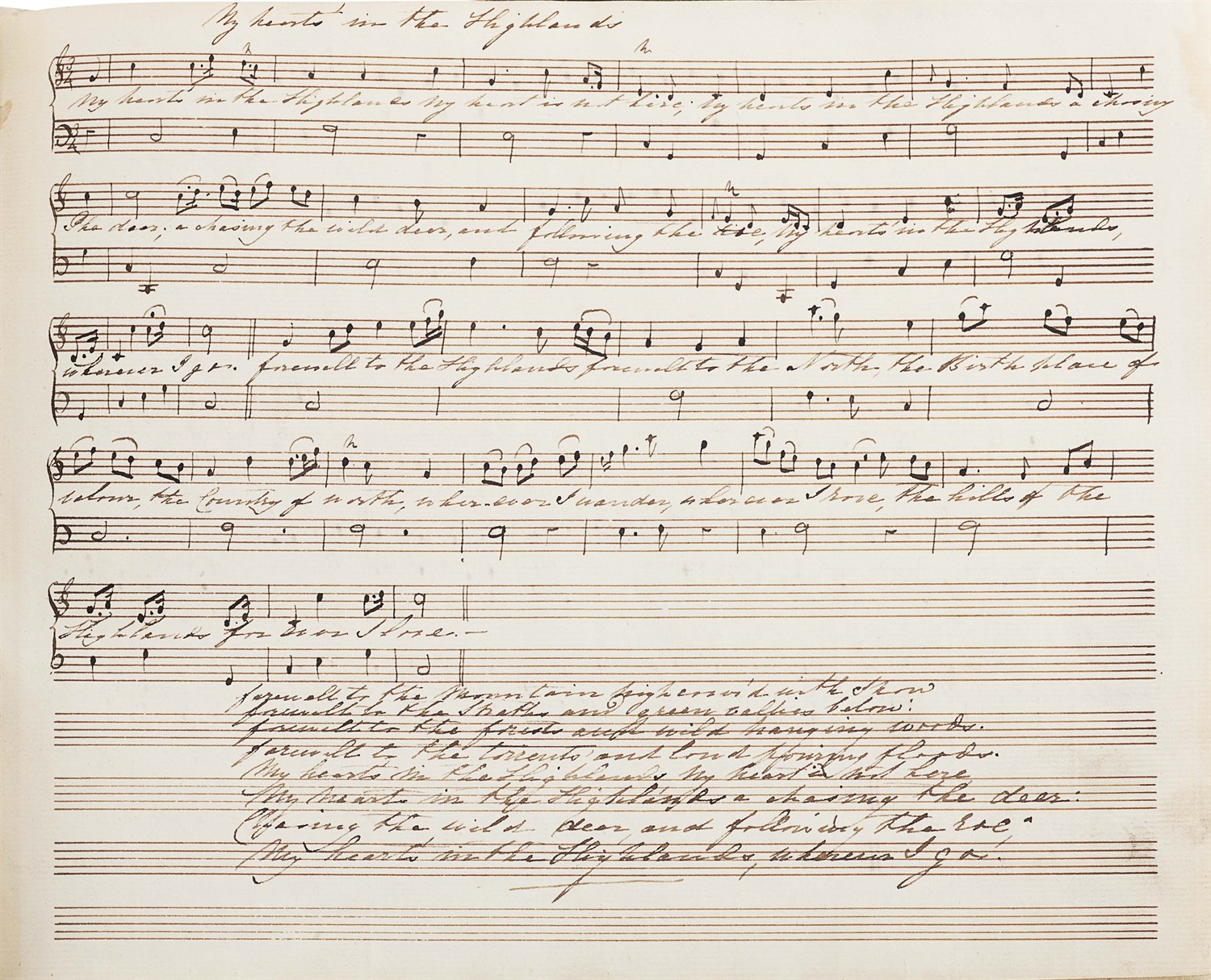 Lot 11-Jacobite and Scottish manuscript folk music, including words by Robert Burns, early 19th century