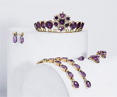 Lot 131 - A mid 19th century amethyst and chrysoberyl parure