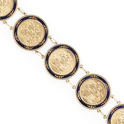 Lot 84 - A 9ct gold enamel and coin set bracelet