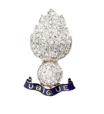 Lot 182 - A diamond set Royal Artillery brooch