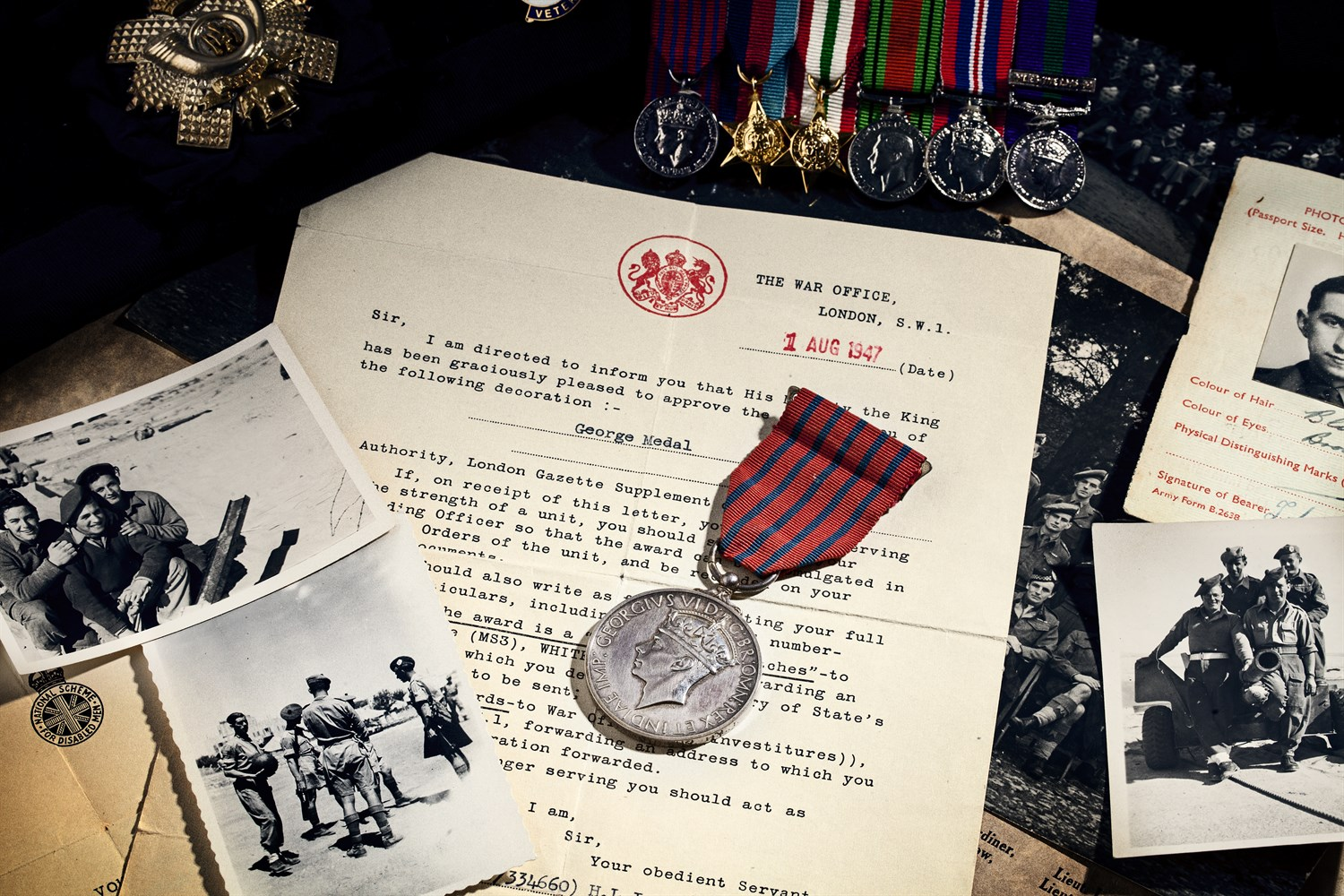 367 - A George Medal to Lt. James Masson, commissioned to Highland Light Infantry served with Argyll and Sutherland Highlanders
