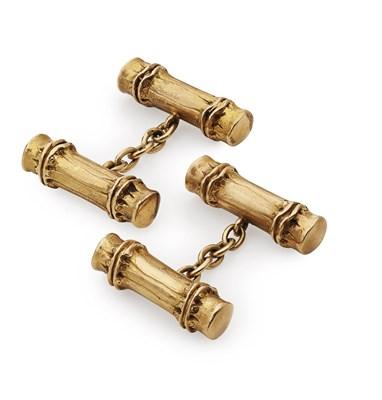 Lot 123 - HERMES - A pair of gold cufflinks