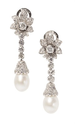 Lot 8 - A pair of diamond and pearl set pendant earrings