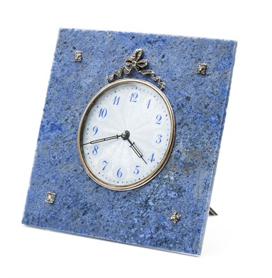 Lot 170 - A 1920s diamond, hardstone and enamel decorated clock