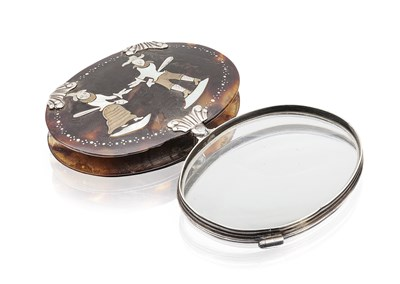 Lot 61 - An early 19th century inlaid tortoise shell magnifying glass