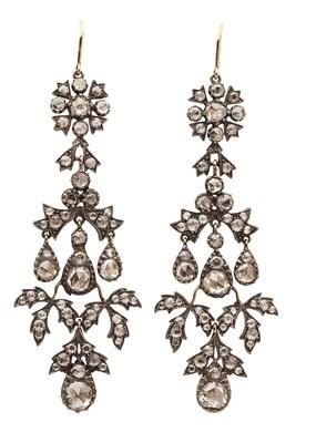 Lot 14 - A pair of 19th century diamond set pendant earrings