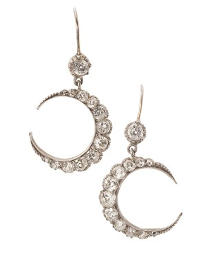 Lot 135 - A pair of late Victorian diamond set crescent earrings