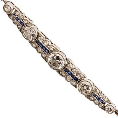 Lot 52 - An early 20th century diamond and sapphire set bracelet
